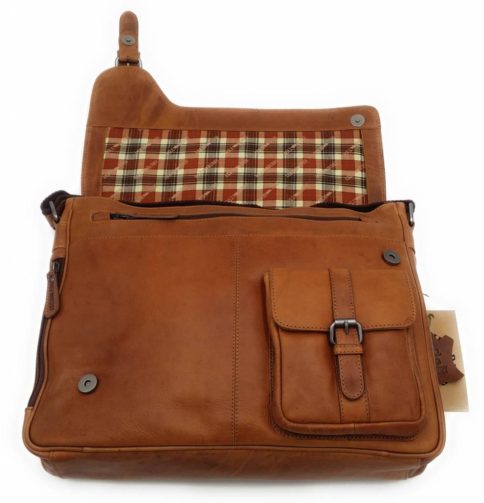 Hill Burry Hill Burry - VB100108 - 3173 - echt leren - schoudertas – werktas- stevig - vintage leder- bruin /cognac