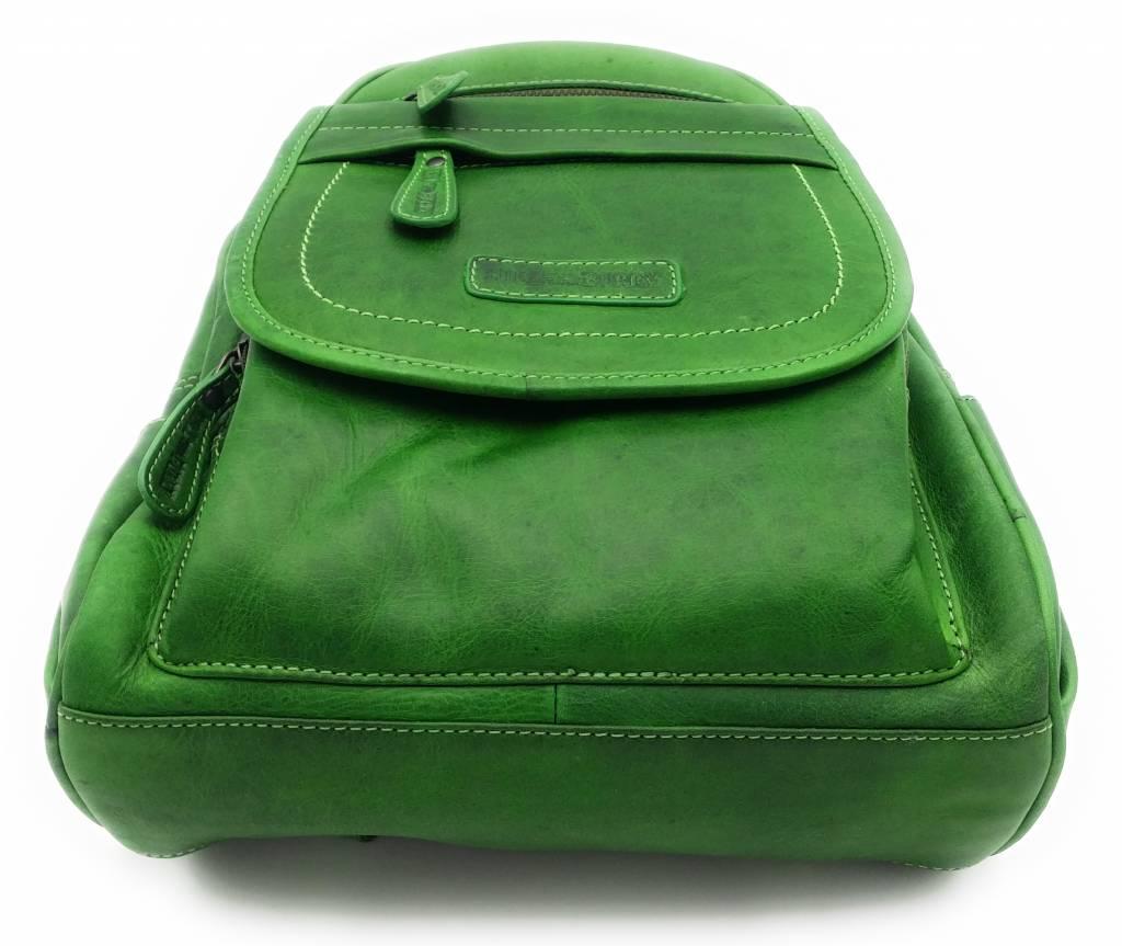 Hill Burry Hill Burry – VB10045 - 3109 - echt leren - dames - rugzak - stevig - chique - uitstraling - vintage leder- groen