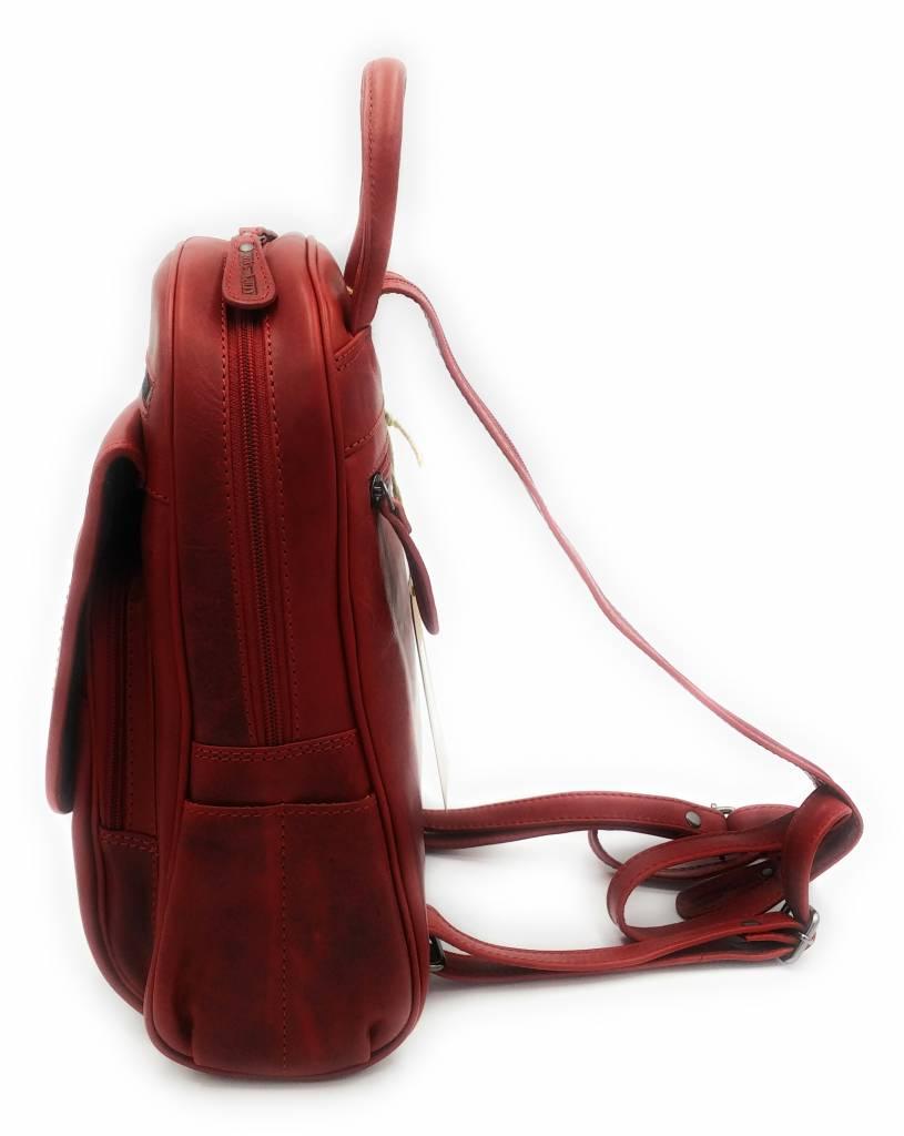 Hill Burry Hill Burry - VB10045 - 3109 - Echtleder - Frauen - Rucksack - fest - chic - Aussehen - Vintage-rotem Leder