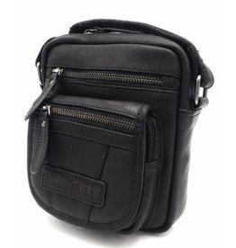 Hill Burry Hill Burry - VB10048 - 3112 - Echtleder - Schulter - crossbodytas- Firma - Vintage schwarzes Leder