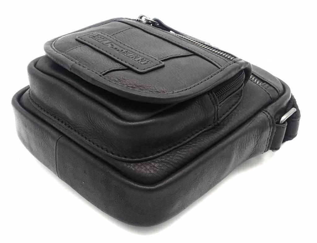 Hill Burry Hill Burry - VB10048 - 3112 - echt leren - schoudertas – crossbodytas- stevig - vintage leder- zwart