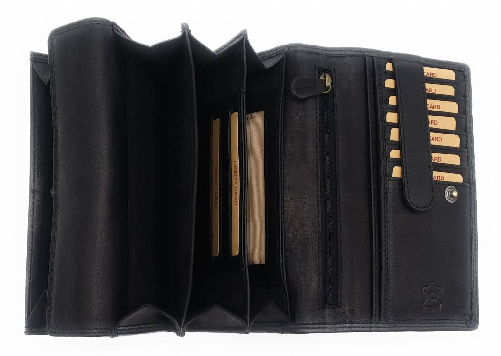Hill Burry Hill Burry - VL77709 -1971 - Echt Leder - big - Frauen - Portemonnaie - Vintage schwarzes Leder