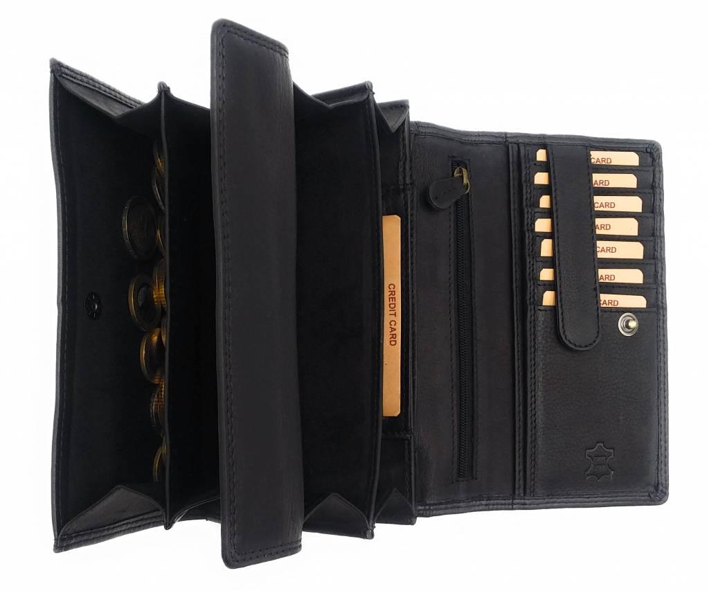 Hill Burry Hill Burry - VL77709 -1971 - echt lederen - grote - dames - portemonnee - vintage leder- zwart