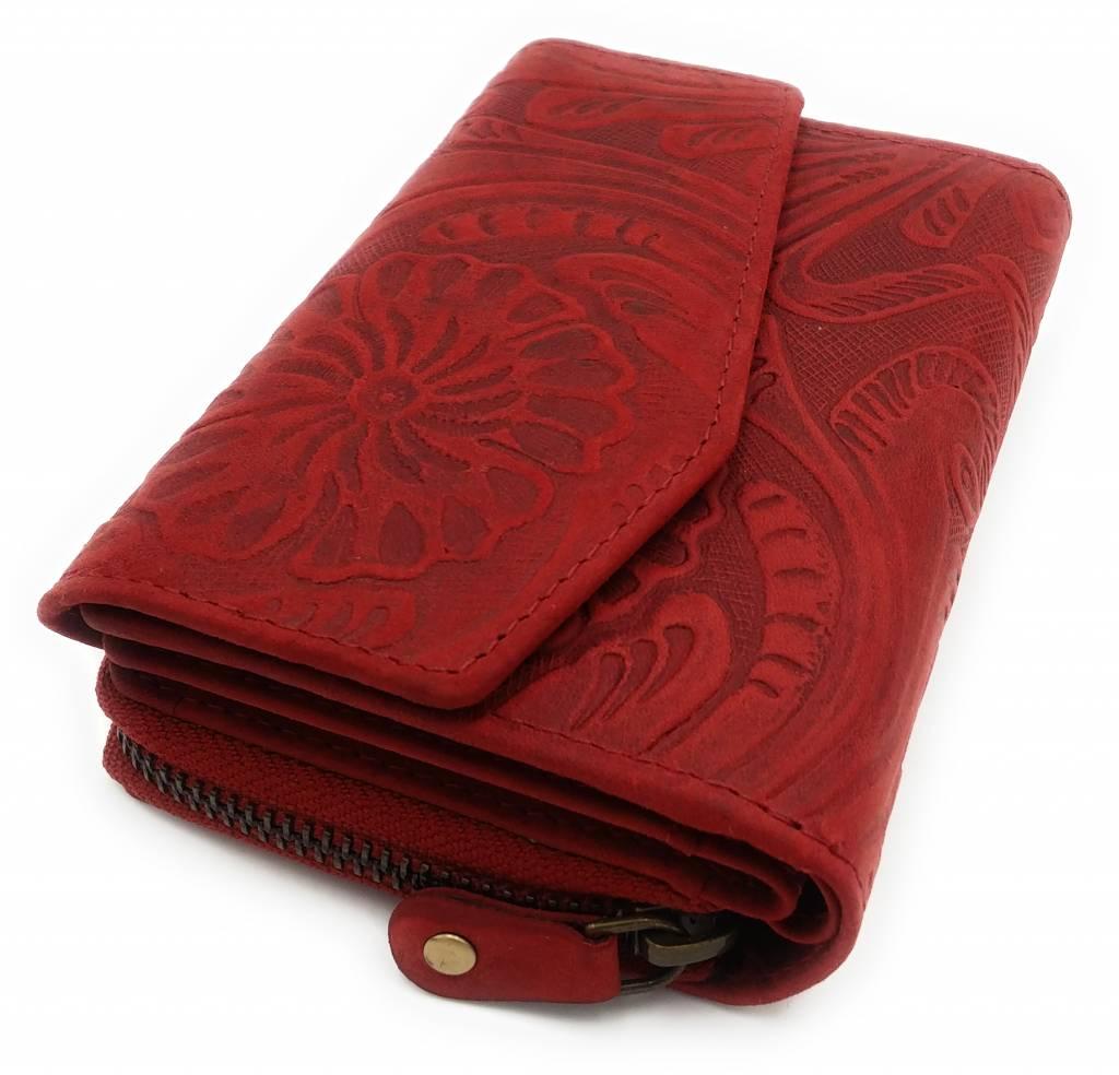 Hill Burry Hill Burry -13 092 / F - Leder Blume textur- Damen Geldbörse Reißverschluss - Rot