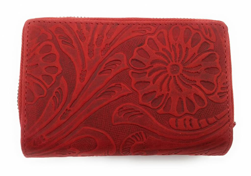 Hill Burry Hill Burry -13092 / F - Leather With Flower Texture- Ladies Zipper Wallet - Red