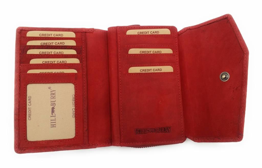 Hill Burry Hill Burry -13092/F – leder met bloem textur- dames rits portemonnee – Rood