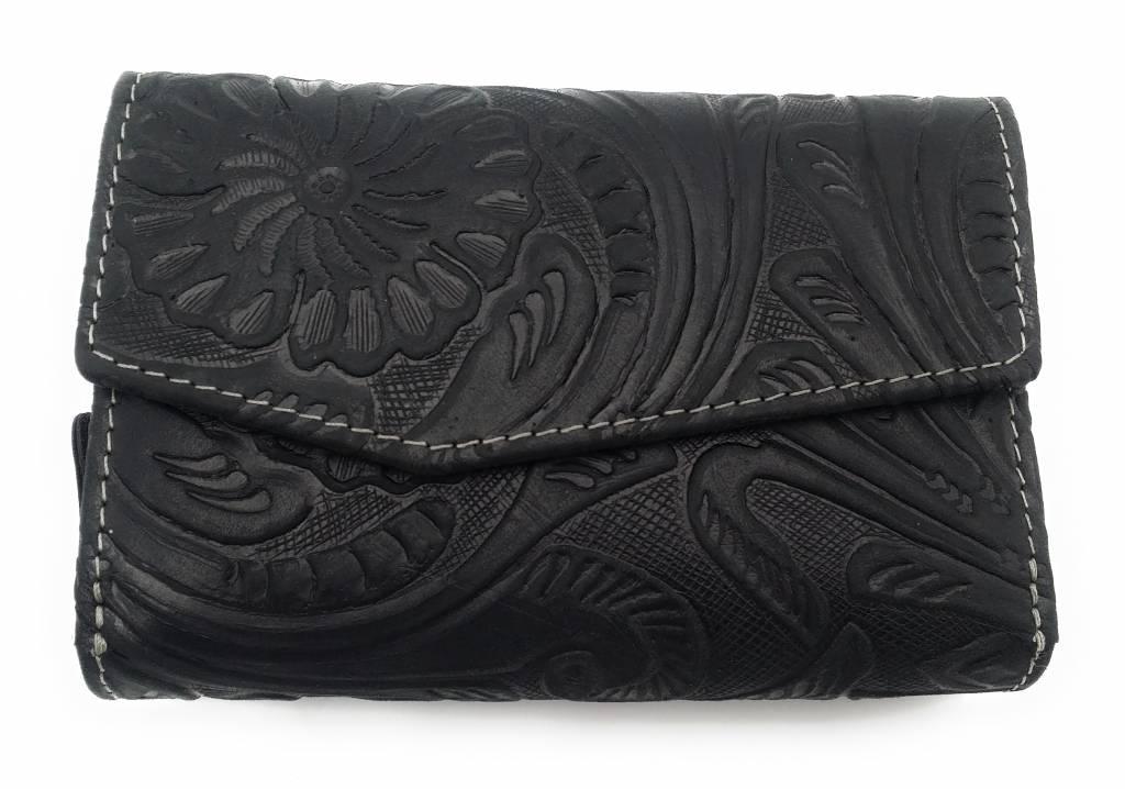 Hill Burry Hill Burry -13092/F – leder met bloem textur- dames rits portemonnee – Zwart