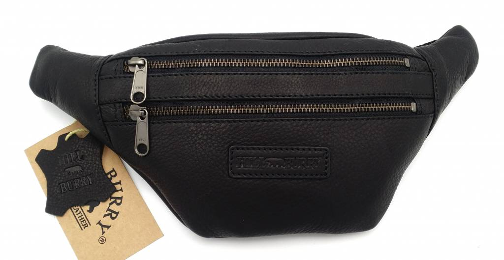 Hill Burry Hill Burry - VB10068 -3108 - Ledergürteltasche - Beutel - fest - chic - Aussehen - Vintage schwarzes Leder