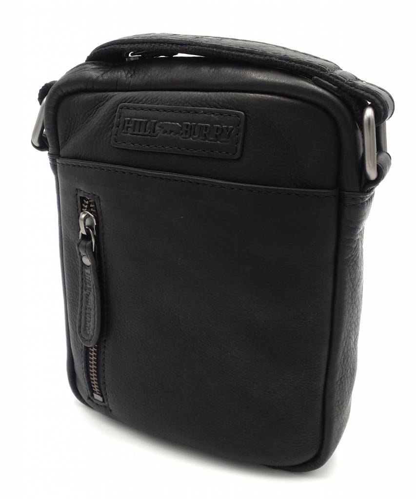 Hill Burry Hill Burry - VB10089 - 3169 - Echtleder - Schulter - crossbodytas- Firma - Vintage schwarzes Leder