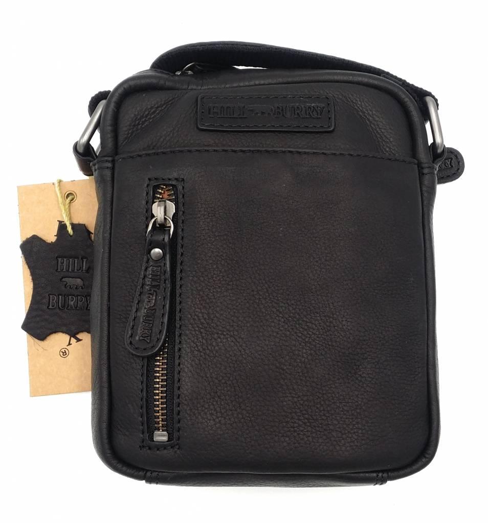 Hill Burry Hill Burry - VB10089 - 3169 - echt leren - schoudertas – crossbodytas- stevig - vintage leder- zwart