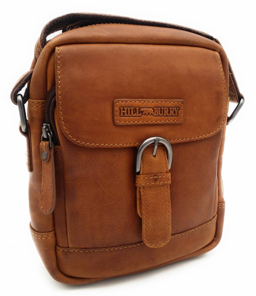 8f80040905321 Hill Burry - VB10011 - HT-06 - Genuine Leather Shoulder Bag - Crossbody Bag  Solid - Vintage Leather Brown   Cognac