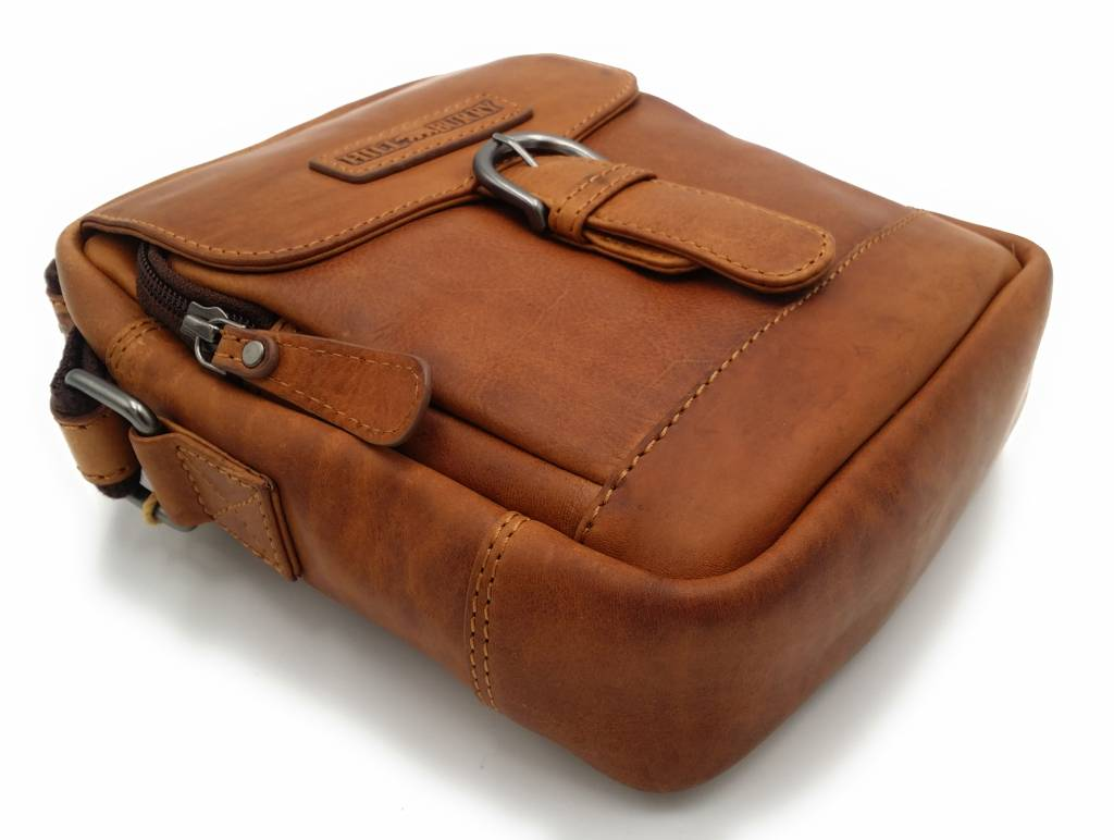 Hill Burry Hill Burry - VB10011 - HT-06 - echt leren - schoudertas – crossbodytas- stevig - vintage leder- bruin /cognac