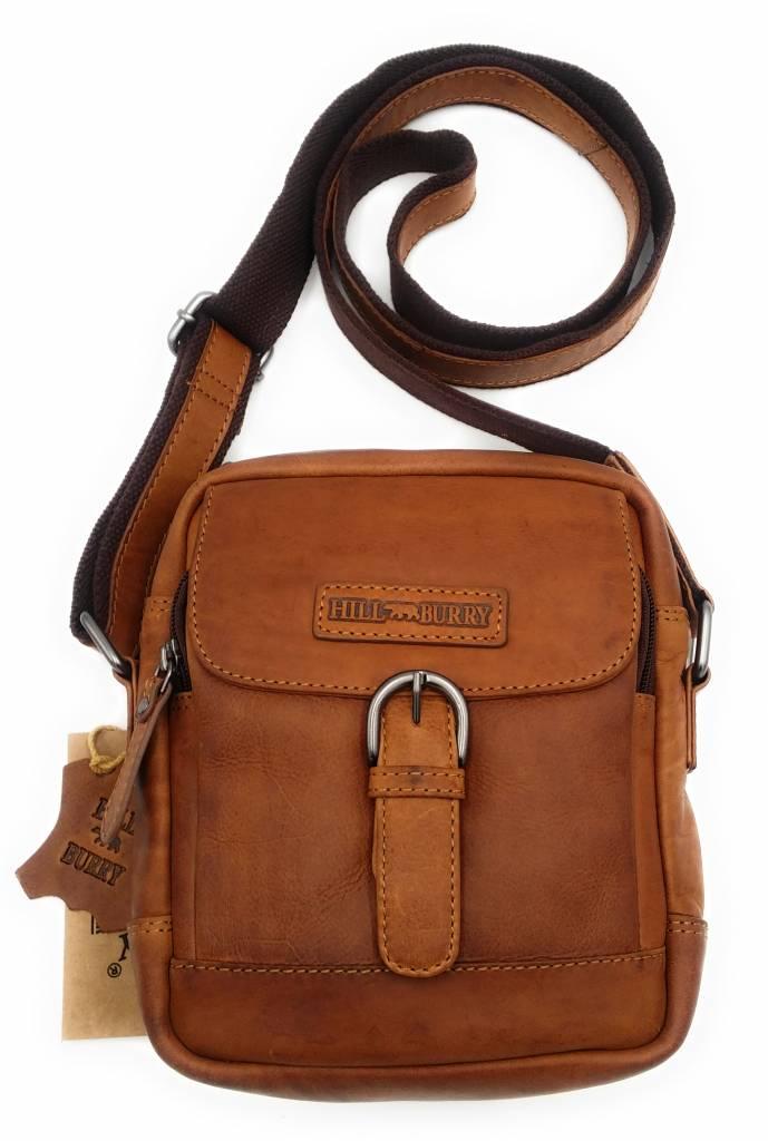 Hill Burry Hill Burry - VB10011 - HT-06 - Echtleder - Schulter - crossbodytas- Firma - Vintage Leder braun / cognac