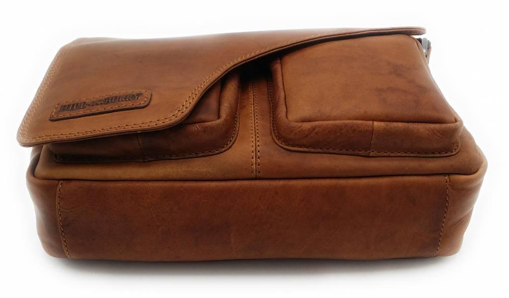Hill Burry Hill Burry – VB10021 - 3062 - echt lederen - schoudertas –crossbodytas- stevig - chique - uitstraling - vintage leder- bruin /cognac