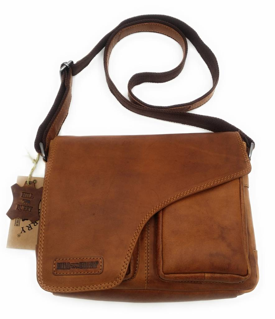 Hill Burry Hill Burry - VB10021 - 3062 - Genuine Leather - Shoulder Bag -Crossbody Bag - Solid - Chic - Appearance - Vintage Leather Brown / Cognac