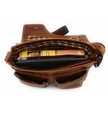 Hill Burry Hill Burry - VB10021 - 3062 - Echt Leder - Schulter -crossbodytas- Firma - chic - Aussehen - Vintage Leder braun / cognac