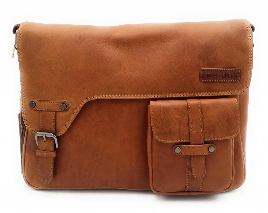 Hill Burry Hill Burry - VB10091 - 3174 - Echt Leder - Schulter -crossbodytas- Firma - chic - Aussehen - Vintage Leder braun / cognac