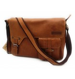 Hill Burry Hill Burry - VB10091 - 3174 - Genuine Leather - Shoulder Bag -Crossbody Bag - Solid - Chic - Appearance - Vintage Leather Brown / Cognac