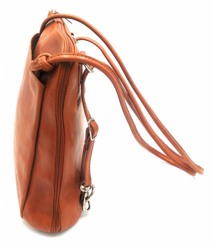 Best Manager - RZ20015 -cognac - real leather - 2 in 1 - shoulder bag - backpack - sturdy - high quality Italian leather cognac