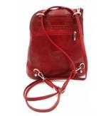 Bestleder – RZ20015  - echt leren - 2 in 1 - schoudertas – rugzak - stevig - hoge kwaliteit Italiaans leer- rood