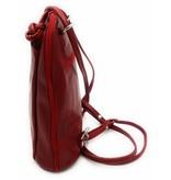 Bester Leder - RZ20015  - wirklich lernen - zwei in einem - Umhängetasche - Rucksack - solide - Qualität italienischen Leder rot