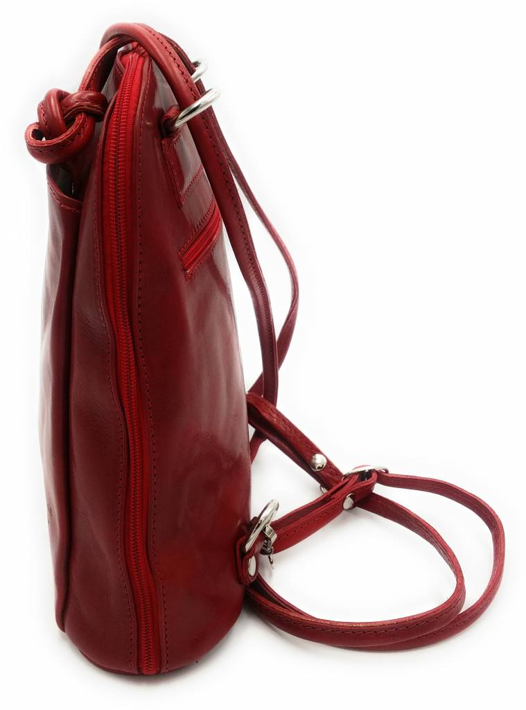 Bestseller - RZ20015  - real leather - 2 in 1 - shoulder bag - backpack - sturdy - high quality Italian leather-red