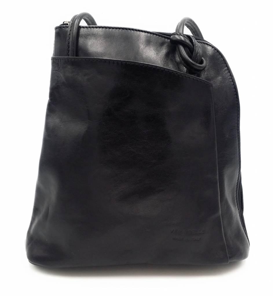 Bestleder – RZ20015 – zwart - echt leren - 2 in 1 - schoudertas – rugzak - stevig - hoge kwaliteit Italiaans leer- zwart