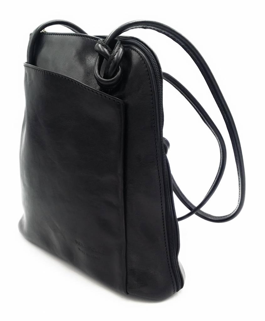Bester Leder - RZ20015 - schwarz - echtes Leder - zwei in einem - Umhängetasche - Rucksack - solide - Qualität italienisches Leder schwarz