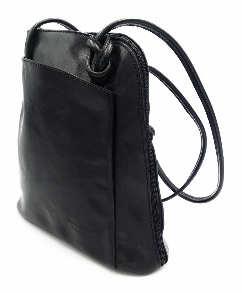 Bestseller - RZ20015 - black - real leather - 2 in 1 - shoulder bag - backpack - sturdy - high quality Italian leather- black