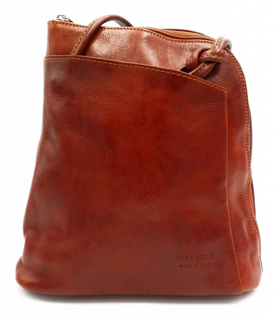 Bestseller - RZ20015 - light brown - real leather - 2 in 1 - shoulder bag - backpack - sturdy - high quality Italian leather light brown