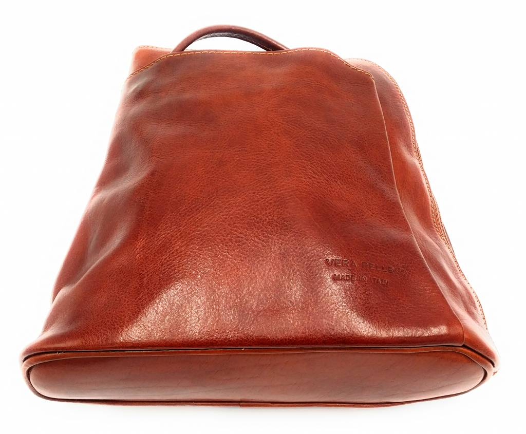 Bestleder – RZ20015 – licht bruin - echt leren - 2 in 1 - schoudertas – rugzak - stevig - hoge kwaliteit Italiaans leer- licht bruin