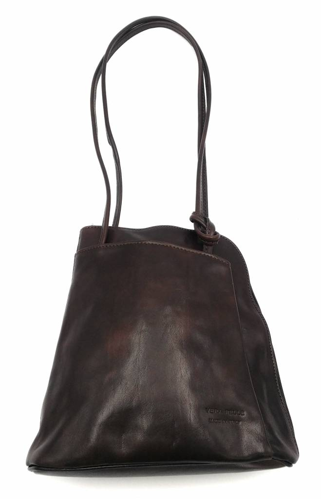 Bestseller - RZ20015 - dark brown - real leather - 2 in 1 - shoulder bag - backpack - sturdy - high quality Italian leather-dark brown