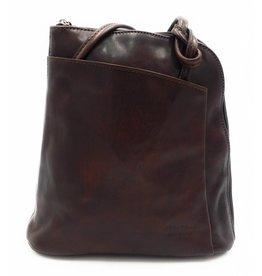 Bestleder – RZ20015 – donker bruin - echt leren - 2 in 1 - schoudertas – rugzak - stevig - hoge kwaliteit Italiaans leer- donker bruin