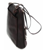 Beste Leder - RZ20015 - dunkelbraun - wirklich lernen - zwei in einem - Umhängetasche - Rucksack - solide - Qualität italienisches Leder dunkelbraun