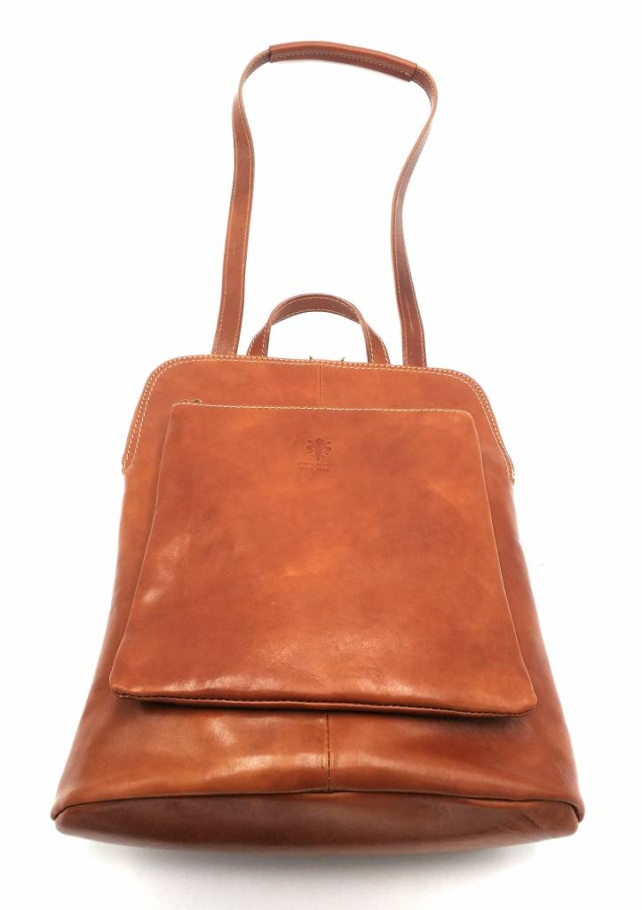 Best Manager - RZ30017 - Cognac - Genuine Leather - 2 in 1 - Shoulder Bag - Backpack - Solid - High Quality Italian Leather Cognac