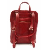 Bestseller - RZ30017 - red - real leather - 2 in 1 - shoulder bag - backpack - sturdy - high quality Italian leather-red