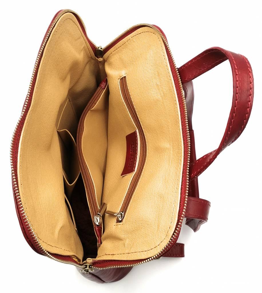Bestleder – RZ30017 – rood - echt leren - 2 in 1 - schoudertas – rugzak - stevig - hoge kwaliteit Italiaans leer- rood