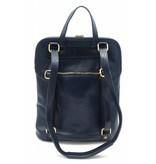 Bestleder – RZ30017 – blauw - echt leren - 2 in 1 - schoudertas – rugzak - stevig - hoge kwaliteit Italiaans leer- blauw