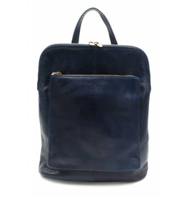 Bestseller - RZ30017 - blue - real leather - 2 in 1 - shoulder bag - backpack - sturdy - high quality Italian leather blue