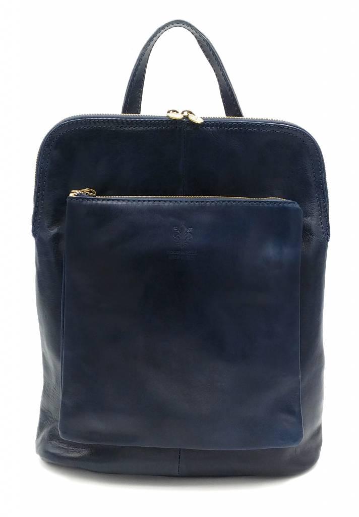 Beste Leder - RZ30017 - blau - wirklich lernen - zwei in einem - Umhängetasche - Rucksack - solide - Qualität italienisches Leder blau