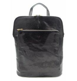 Bester Leder - RZ30017 - schwarz - echtes Leder - zwei in einem - Umhängetasche - Rucksack - solide - Qualität italienisches Leder schwarz
