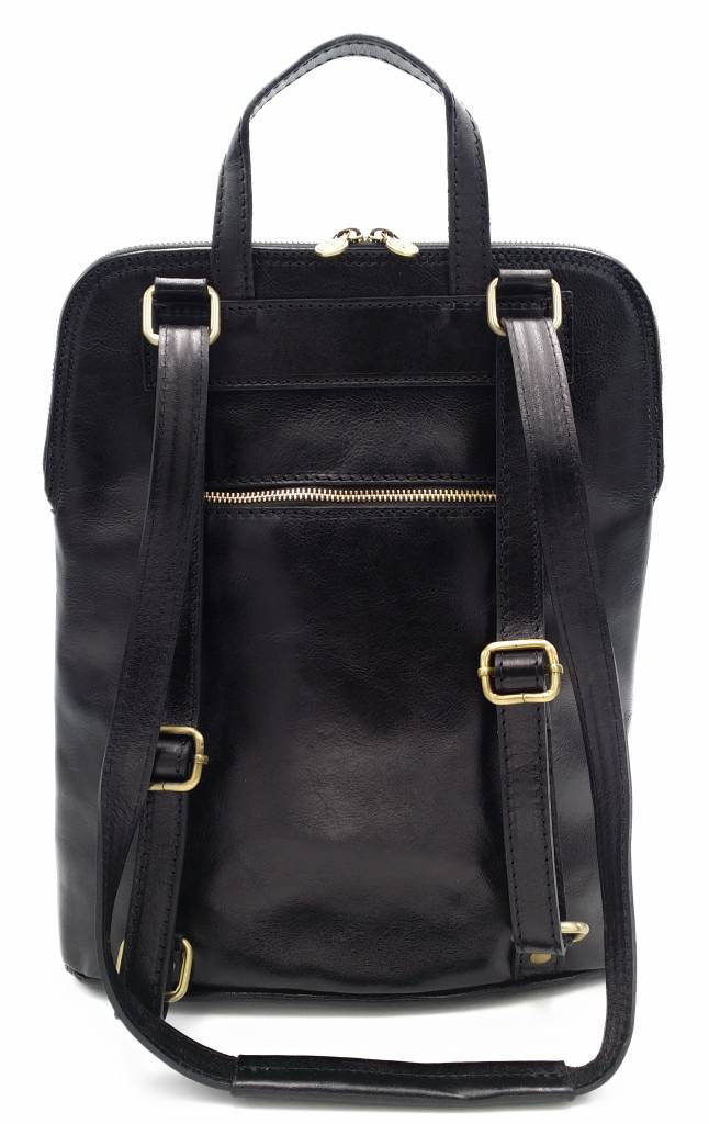 Bestseller - RZ30017 - black - real leather - 2 in 1 - shoulder bag - backpack - sturdy - high quality Italian leather- black