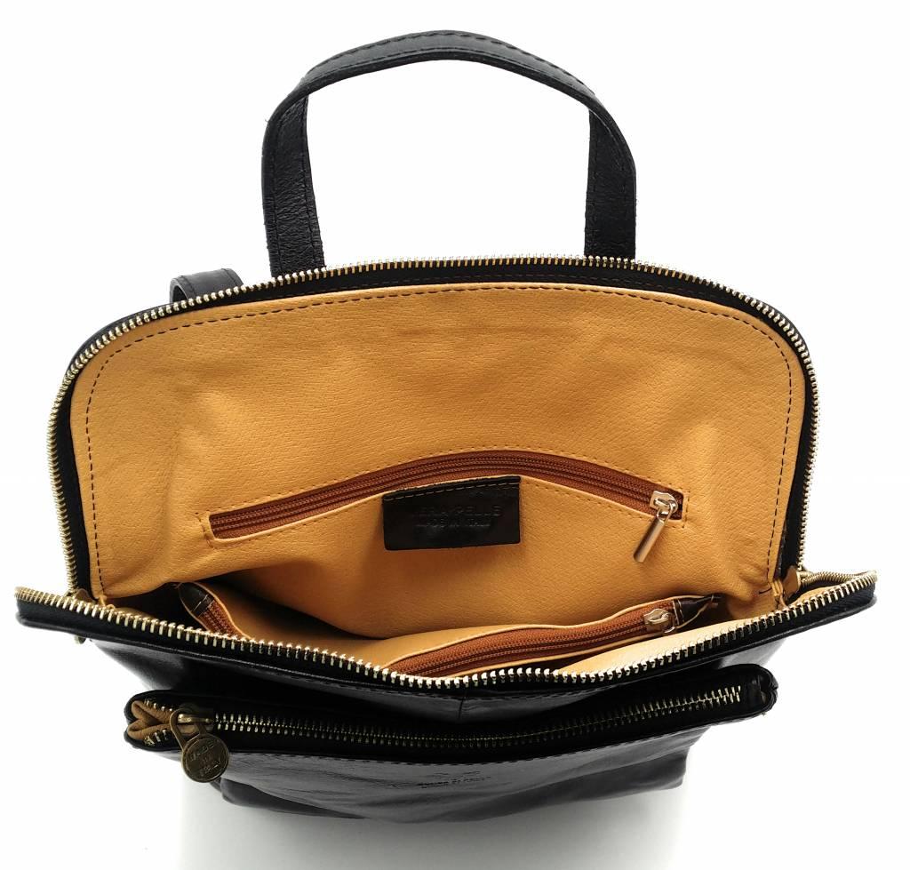 Bestleder – RZ30017 – zwart - echt leren - 2 in 1 - schoudertas – rugzak - stevig - hoge kwaliteit Italiaans leer- zwart