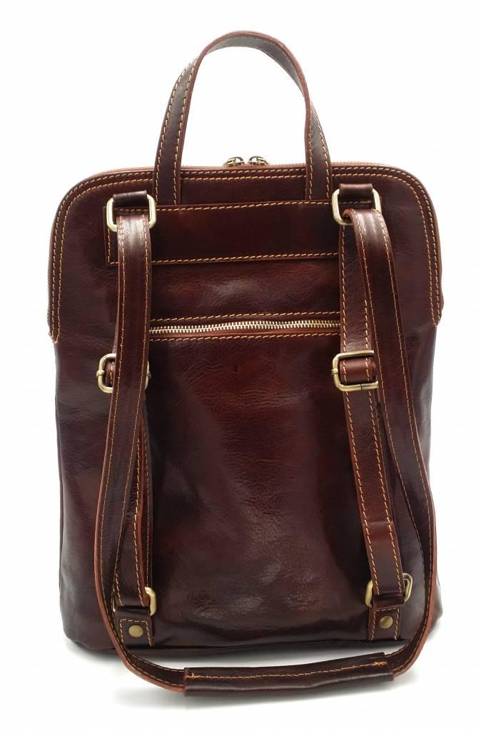 Beste Leder - RZ30017 - hellbraun - wirklich lernen - zwei in einem - Umhängetasche - Rucksack - solide - Qualität italienisches Leder hellbraun