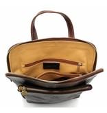 Bestleder – RZ30017 – licht bruin - echt leren - 2 in 1 - schoudertas – rugzak - stevig - hoge kwaliteit Italiaans leer- licht bruin
