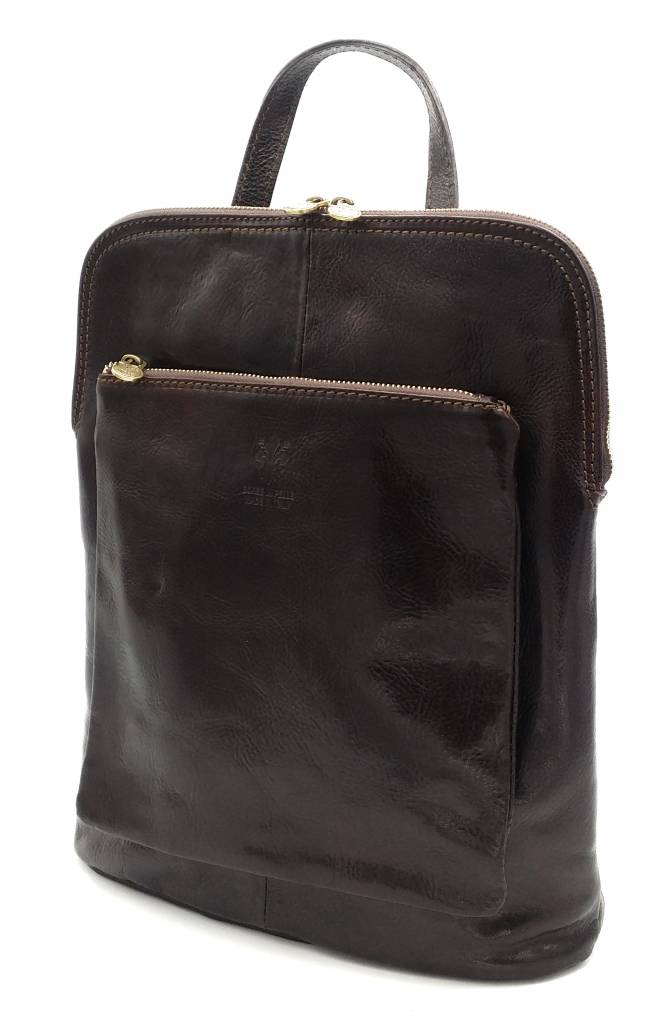 Bestseller - RZ30017 - dark brown - real leather - 2 in 1 - shoulder bag - backpack - sturdy - high quality Italian leather-dark brown
