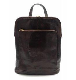 Bestleder – RZ30017 – donker bruin - echt leren - 2 in 1 - schoudertas – rugzak - stevig - hoge kwaliteit Italiaans leer- donker bruin
