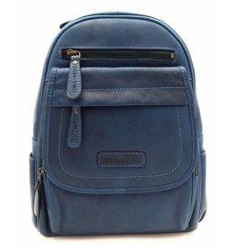 Hill Burry Hill Burry – VB10045 - 3109 - echt leren - dames - rugzak - stevig - chique - uitstraling - vintage leder- blauw