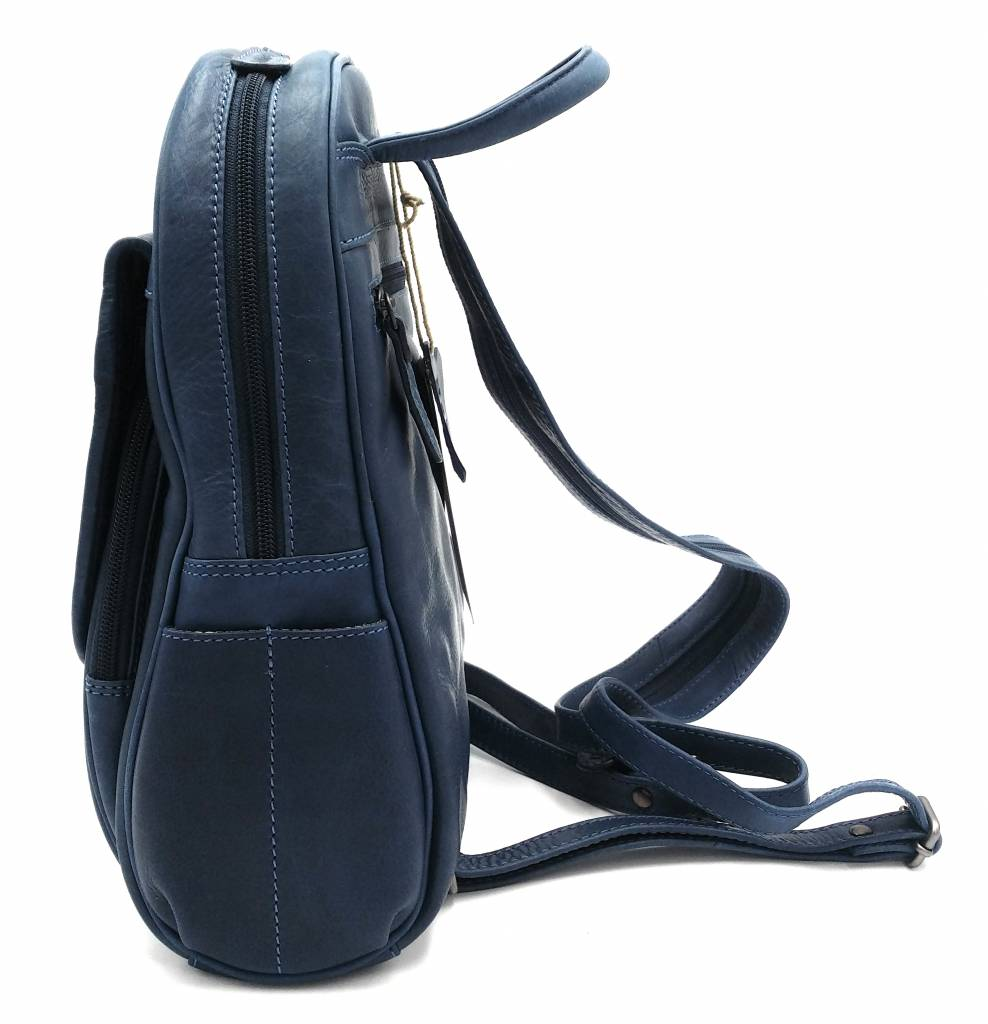 Hill Burry Hill Burry - VB10045 - 3109 - real leather - women - Backpack - firmly - chic - appearance - vintage leather blue