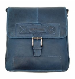 Hill Burry Hill Burry - VB10023 -2089 - real leather - Shoulder -crossbodytas- firm - vintage leather blue